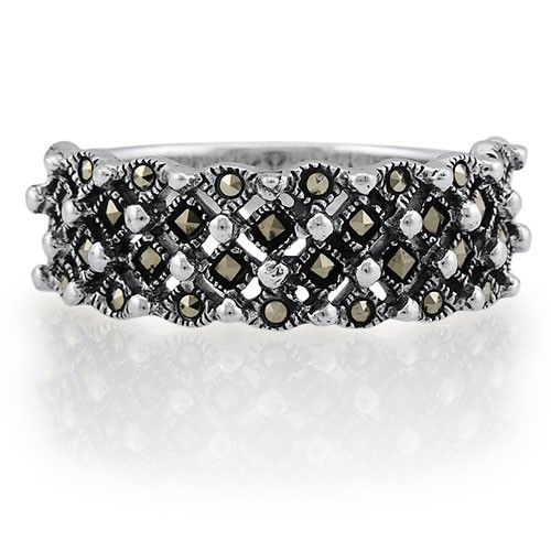 Sterling Silver 925 Round and Princess Marcasite in 4-Row Fashion Ring from Berricle - Price: $27.99