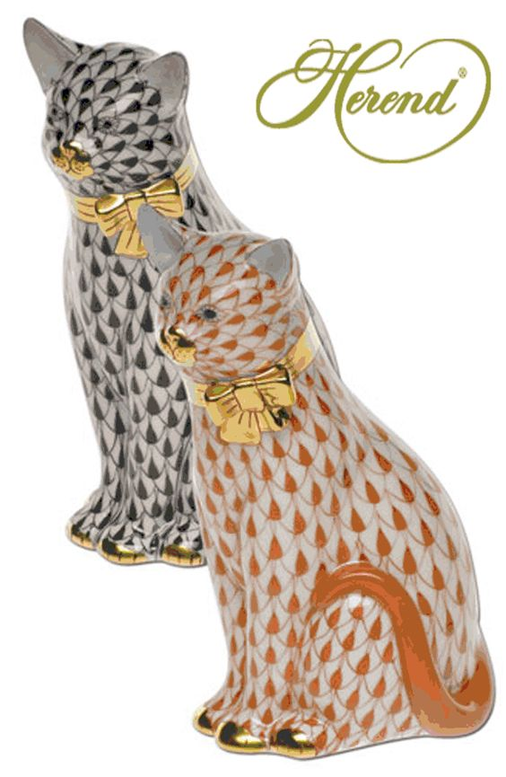 Herend Hand Painted Porcelain Figurine Tall Sitting Cats Black Rust Fishnet Gold Accents.: