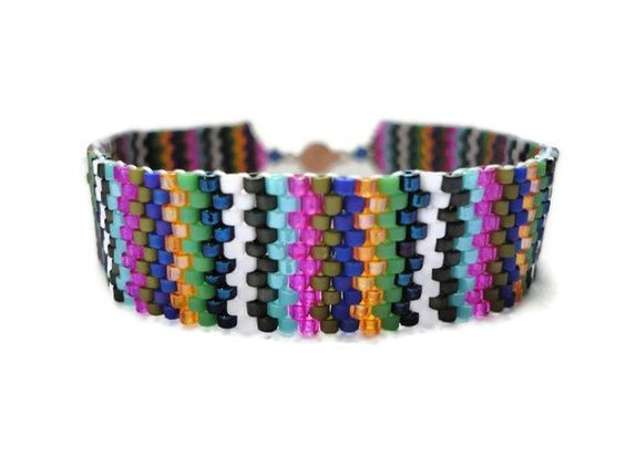 Seed Bead Bracelet Peyote Stitch Delica Stripes by JoannGirls, $19.99