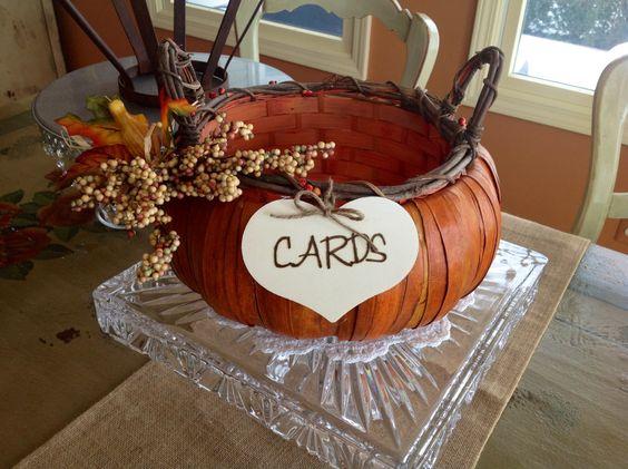 Pumpkin Wedding Basket, Rustic Wedding.. $29.99, via Etsy.