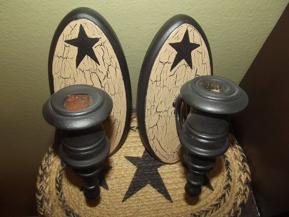 Primitive Crackle Wood Sconce Set of 2 ~ Black Stars ~ Country Decor