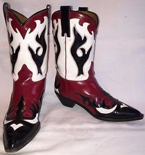 Vintage Womens Size 7.5 DONALD J PLINER Cowgirl Cowboy Western Red Italy Boots