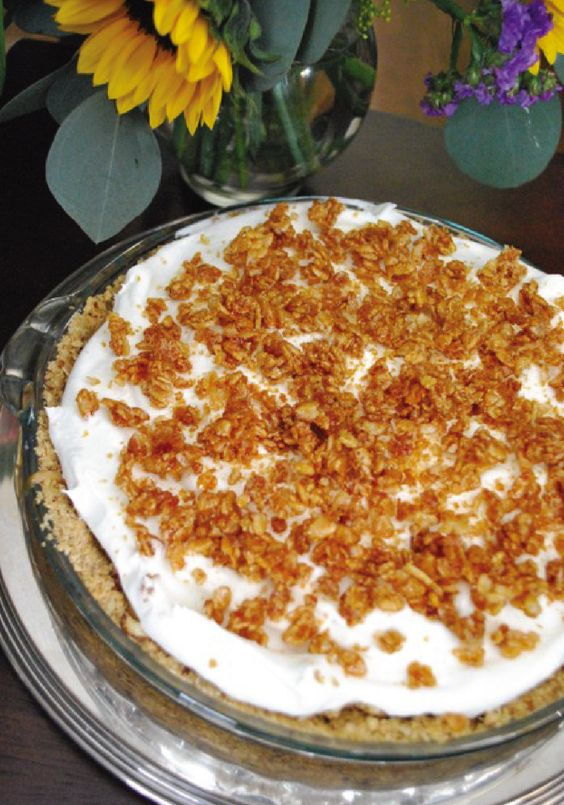 Starting with a crust of hazelnuts and graham crackers and followed-up with a filling of caramel pudding and a sprinkling of Rice Krispies® cereal, you won't believe how easy this Caramel Cream Pie recipe is! It's perfect for serving up as dessert.
