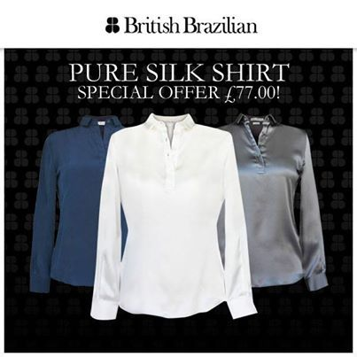 Our beautiful pure silk shirts are now on special offer. #Tip: team with smart trousers or a high waisted skirt for that stylish city chic look.