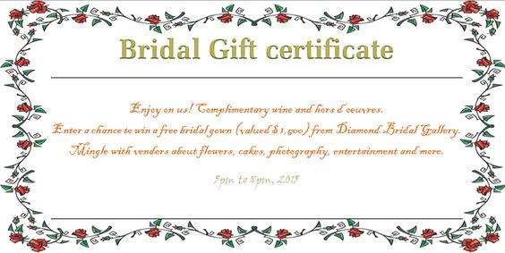 Wreath of Roses Bridal Gift Certificate Template Beautiful