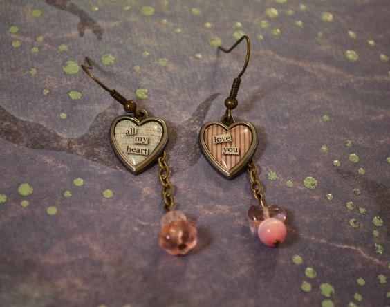 Sweet Heart Earrings MisMatch Dangle by BeadyEyedGrouper on Etsy