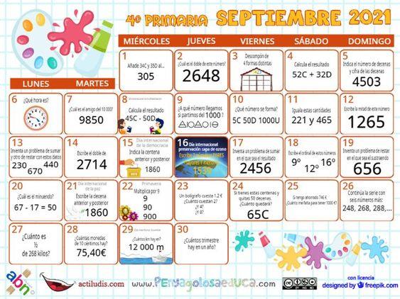 Calendario Cuarto ABN – Septiembre 2021