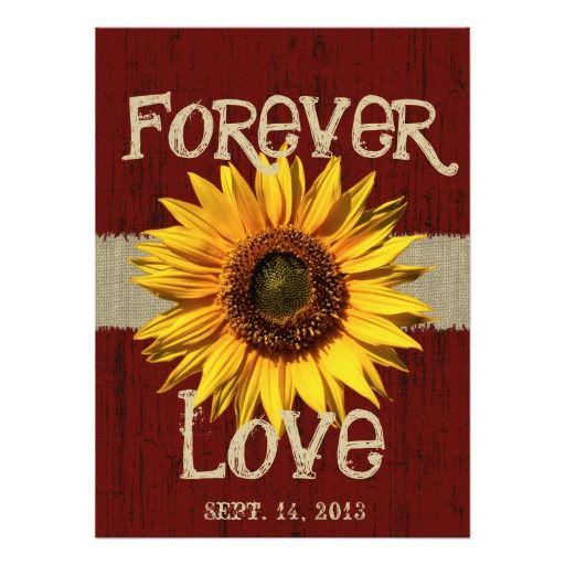 Barnwood and Burlap Sunflower Wedding Personalized Invite