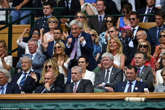 Speaker of the House of Commons John Bercow, centre, added some energetic celebrations to the Royal Box while Sir Alex Ferguson, left, looked far less amused