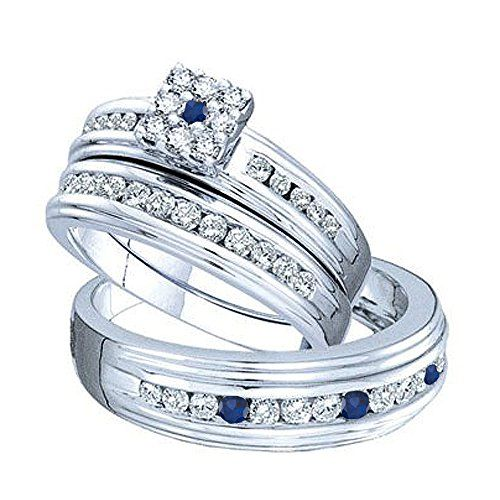 Dazzlingrock Collection 14k White Gold Round Blue Sapphire With