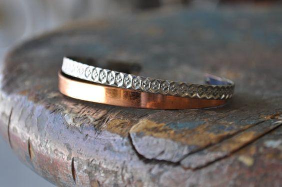 Vintage 1970s Genuine Copper, Double Banded Cuff Bracelet