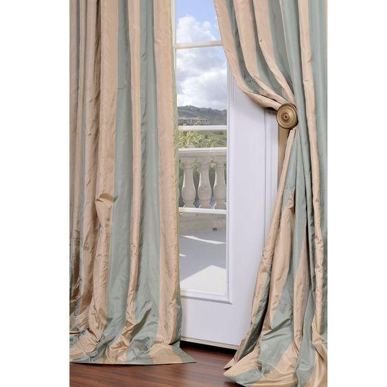 Exclusive Fabrics Signature Stripe Beige Sea Foam Green Faux Silk Taffeta Curtain Panel By
