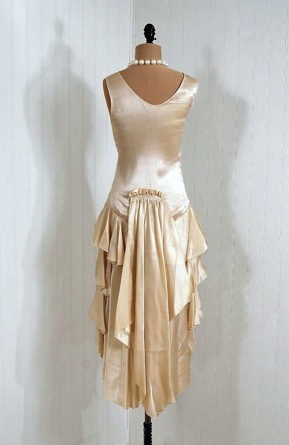 1920 39 s antique vintage ivory white ruched silk satin for French couture dresses