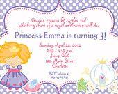 princess party birthday invitation - Princess Cinderella inspired birthday invitation - You print or I print. $10.00, via Etsy.