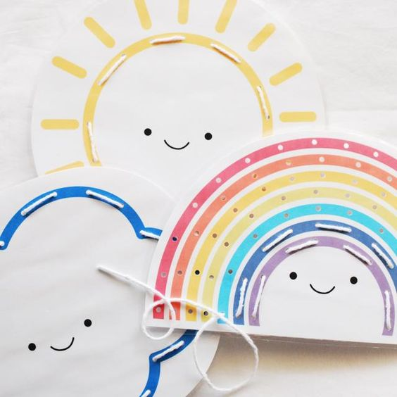 Printable weather cards for kids to stitch and color are a great way to bring sunshine to a rainy summer day.