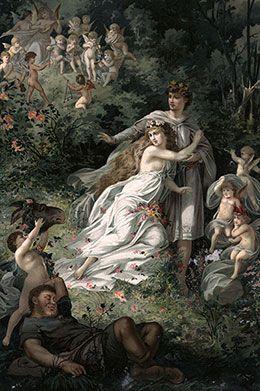 Quadro retrata cena da obra 'Sonho de uma Noite de Verão', de William Shakespeare (Crédito: Hulton Archive/Getty Images)