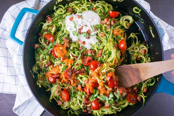 These skillet zoodles with cream sauce are so incredibly simple and are a healthy and delicious way to kick off the new year!