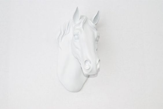 White Faux Horse Head Mount - Horse Head Fake Taxidermy Wall Mount H01