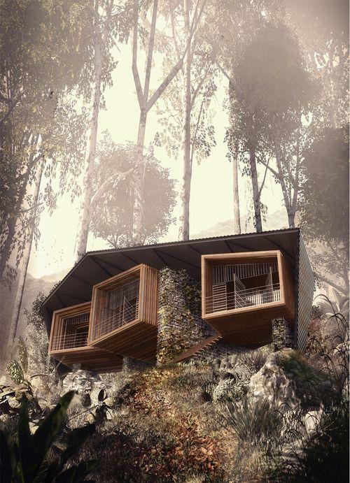 Bijzonder huis met overkapping gebouwd in een berg