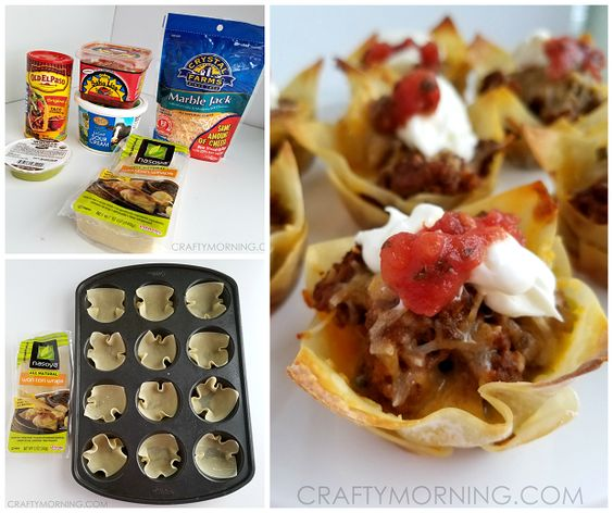 Ingredients: Wonton wraps Taco seasoning 1 pound ground beef Shredded Cheese Toppings (Salsa, sour cream, guacamole, lettuce, etc.) Start by browning your ground beef and add in some taco seasoning. Let most of the liquid cook out because they will make your wonton wrapper's soggy. Spray your muffin tin with Pam and push each wonton …
