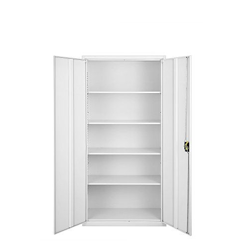 Sanmey High Office Cupboard Metal Lockable Filing Storage Stationary Cabinet 2 Doors 185cm Home Office Cabinets Storage Office Cupboards