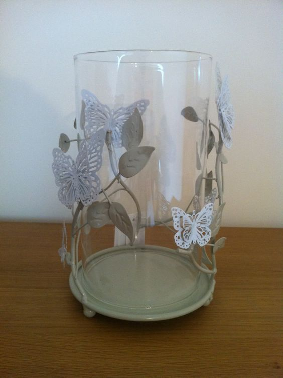 Large Metal & Glass Butterfly Design Candle Holder, £14.50