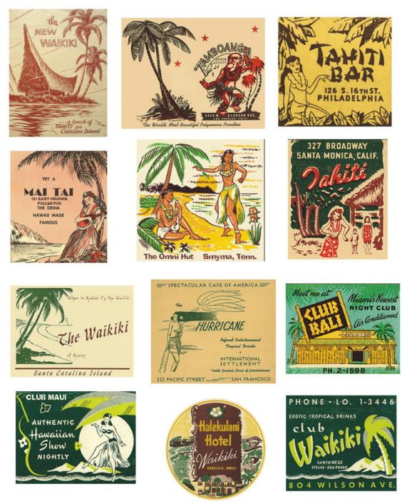 """vintage hawaiian labels waikiki - Youre totally on the right track.  These are simple and easy, """"breezy"""", if you'll excuse the expression.  Love the hut!!!!!!!!!!!! Font too!"""