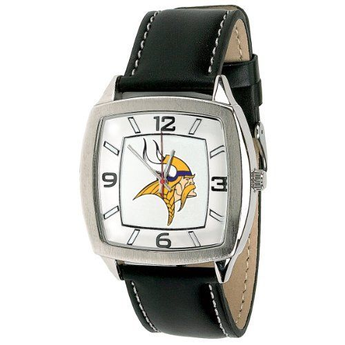 "MINNESOTA VIKINGS NFL leather band Watch for Men by Unknown. $39.95. MINNESOTA VIKINGS  Retro leather band Watch for Men    Features Officially licensed team logo and colors  Diameter of face is 1.5/8""  Genuine leather strap  Adjustable Band 6.25 TO 7.50""  Band width is .7/8""  Stainless steel case back  Japan quartz movement  Water resistant to 3 ATM (99 ft.)  Limited lifetime warranty"
