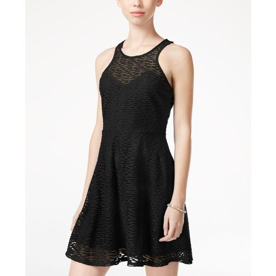 Material Girl Juniors' Textured Mesh Skater Dress, ($35) ❤ liked on Polyvore featuring dresses, caviar black, textured dress, skater dress, mesh skater dress, material girl dresses and mesh dress