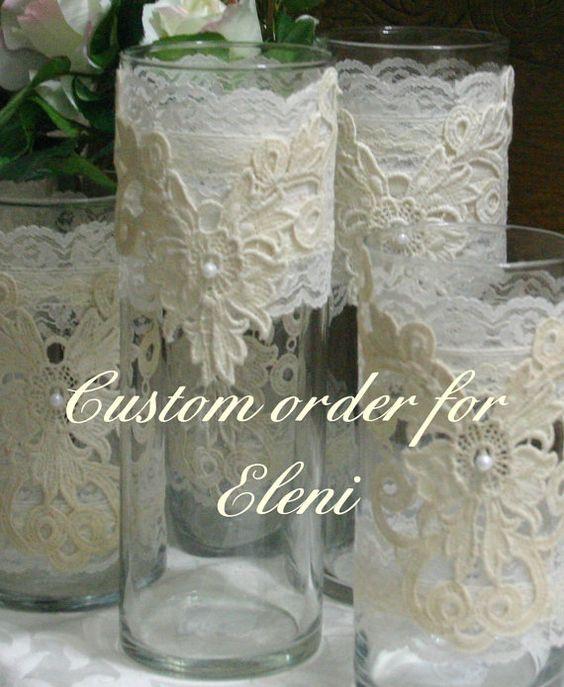 Vintage lace flower wedding vases centerpiece