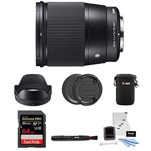 Sigma 16mm F 1 4 Dc Dn Contemporary Lens For Sony E Mount With 64gb Extreme Pro Bundle Sony E Mount E Mount Mirrorless Camera