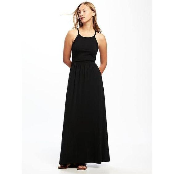 Black jersey maxi dress petite
