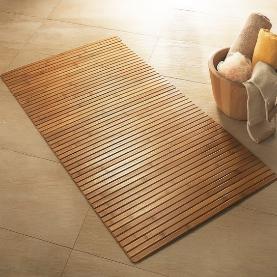 ^ Simple Yet hic co – Friendly Bamboo Bathroom Mat On Bamboo Floor ...