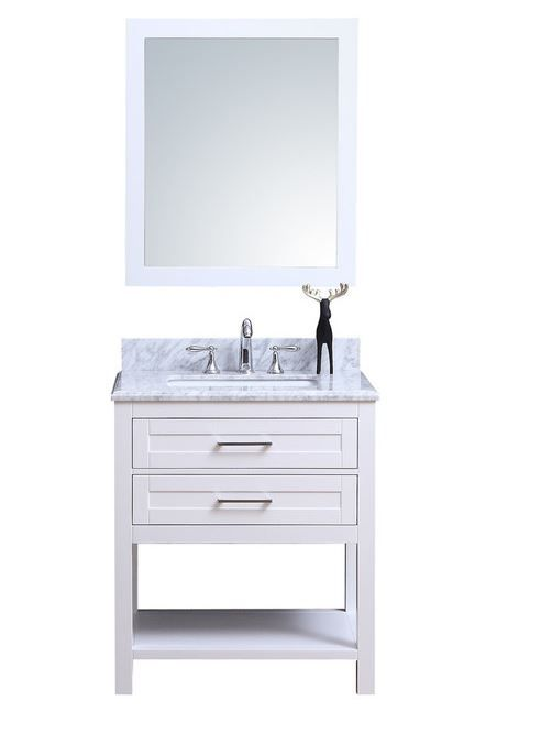 Https Www Houzz Com Product 114189021 Penelope 24 Freestanding White Bathroom Vanity With Marble Top 3ho White Vanity Bathroom Bathroom Vanity White Bathroom