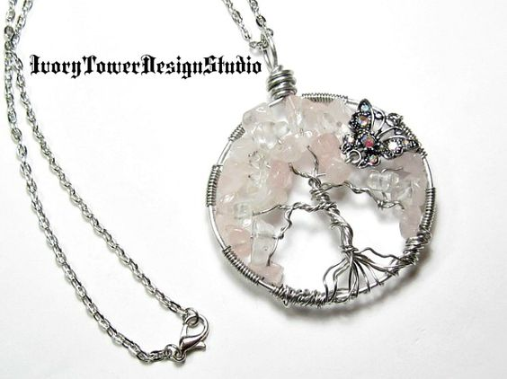 Enchanted Flight Rose Quartz / Clear Quartz / Butterfly Tree of Life  Will be available October 22, 5pm PDT TSM Jewelry Extravaganza http://tophatter.com/auctions/49643-tsm-jewelry-extravaganza