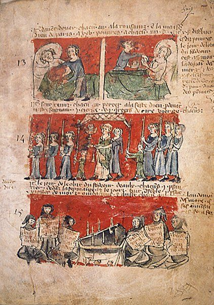Les collégiens  Cartulaire du collège de Hubant , XIVe siècle Paris, Archives Nationales, MM 406 n° 27, fol. 6v.