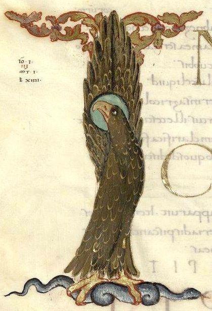 «In principio erat verbum» - St John's eagle forming the letter I (f°150v) -- «Evangelia quattuor» [Évangiles dits de Drogon], Metz (France), 845-855 [BNF, Ms Latin 9388]