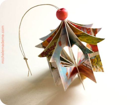 How to make a little heart house ornament out of old greeting cards.