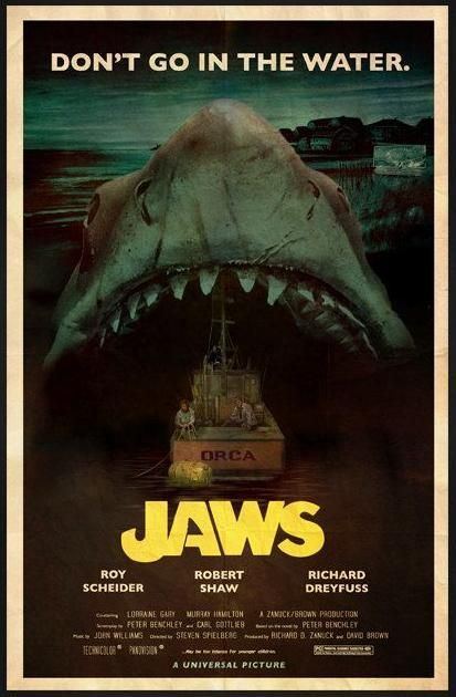 JAWS; I know this is 'only' a fan art, but that is a DAMN good poster!