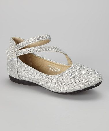 Loving this Silver Beaded Ankle-Strap Flat on #zulily! #zulilyfinds   cute flower girl shoes...