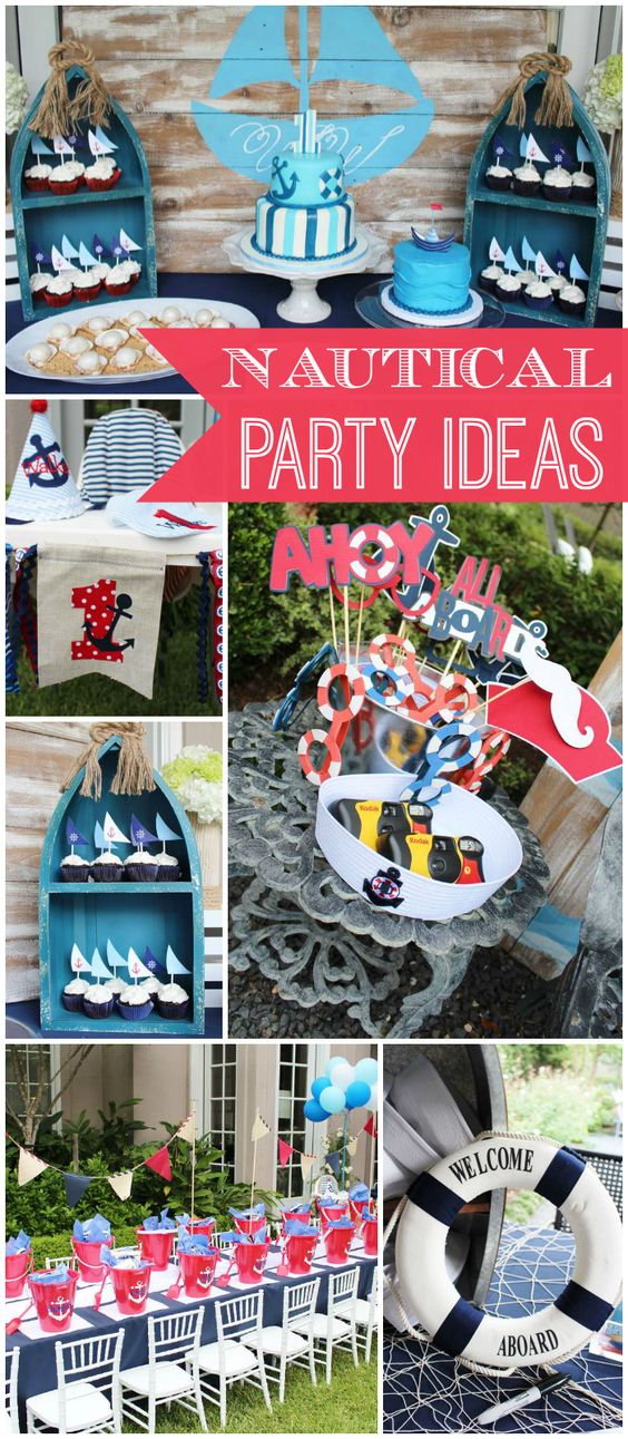So many fun nautical ideas at this 1st birthday party! See more party ideas at CatchMyParty.com!: