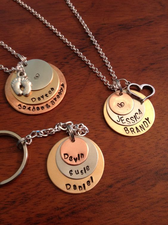 Personalized Hand stamped Layered Necklace:  https://www.etsy.com/listing/155612170/personalized-layered-hand-stamped?ref=listing-shop-header-2  The Keychain option can be found here:  https://www.etsy.com/listing/164984888/personalized-layered-hand-stamped-key?ref=listing-shop-header-4