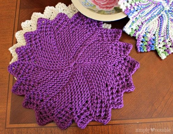 Free Knitted Round Dishcloth Patterns : Sunburst Dishcloth Knitting Pattern SimplyNotable.com Knitting and Crochet...