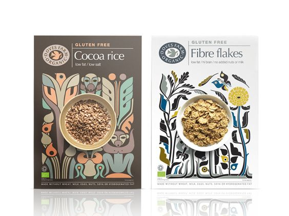 With this new range of gluten free cereals, Studio h worked with illustrator Petra Borner to create illustrations that are not too serious and can be appreciated by adults and children. They also help to create a continuing strong and unique voice for Doves Farm.