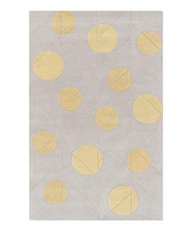 Yellow & Neutral Polka Dot Wool Rug