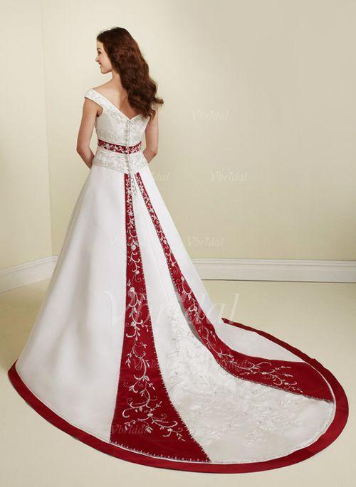 Wedding Dresses - $253.00 - A-Line/Princess V-neck Chapel Train Satin Wedding Dress With Sash Beading Sequins (00205002097)