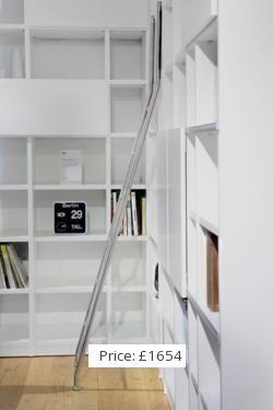 Love the library ladder. Matt White MDF Shelving System
