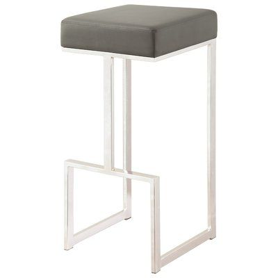 Orren Ellis Bar Stool With Upholstered Grey Seat With Chrome Base