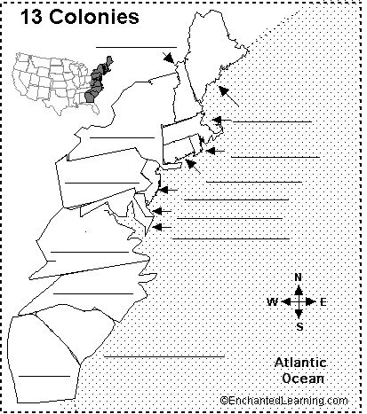 Blank 13 Colonies Map Worksheet  13 Colonies Printout