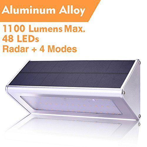 Wbesev Solar Lights Outdoor 1100 Lumens Max 48 Led Radar Motion Sensor Light Aluminum Alloy Ho Outdoor Solar Lights Solar Lights Motion Sensor Lights